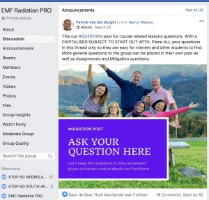 EMF Radiation PRO Facebook group for Patrick van der Burght's Professional Level Students